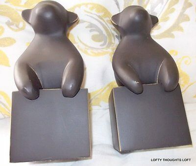 """West Elm  Cast Iron Metal Monkey Set Of 2 Bookends Nwt Brown  4"""" X 8"""""""