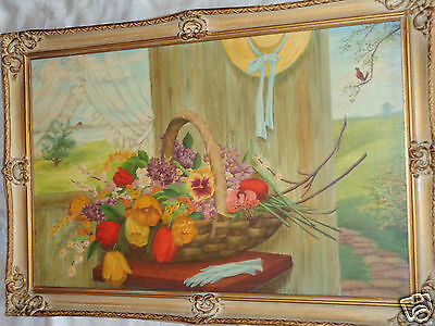 Vintage Listed Artist ? Signed Floral Tulip Lilac Basket Pansy Oil Painting
