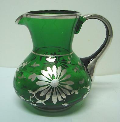 Vintage Art Deco rich green glass jug with flower Silver Overlay  decoration