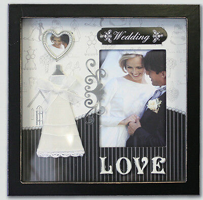 Black White Scrapbook Embellished Cover WEDDING Wooden Photo Picture Frame