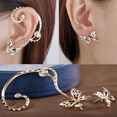 1 Pair Fashion Women Butterfly Ear Cuff Clip Stud Crystal Rhinestone Earrings