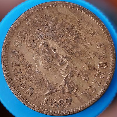 US 1867 Indian Head Cent Penny gVF+/EF Rare Coin