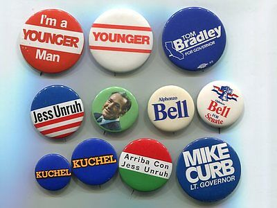 California Governor, U.S. Senate Buttons 1970's 80's