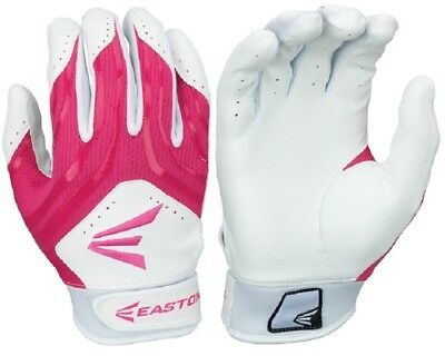 1pr Easton HF3 Hyperskin Youth Large White / Pink Fastpitch Batting Gloves