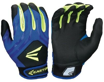 1pr Easton HF3 Hyperskin Womens Large Black/Blue/Optic Fastpitch Batting Gloves