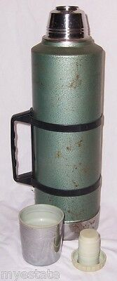 Vintage Aladdin's Stanley Green No A-945B 2 Quart Thermos With Carry Handle