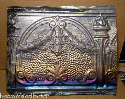 SALE  Antique Victorian Gothic Ceiling Tin Tile Torches Swag Holly Fleur De li