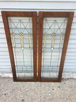 "Beautiful Pair of Stained Leaded Glass Bookcase Cabinet Doors 44 1/2"" x 16"""