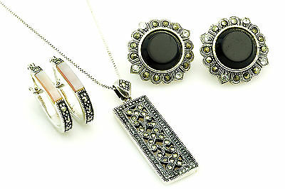 """Vintage Sterling Silver Marcasite Mother of Pearl 24"""" Necklace Earrings Set"""
