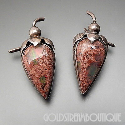 Old Mexico Doris 925 Silver Cantera Fire Opal Jalapeno Peppers Scarf Dress Clips