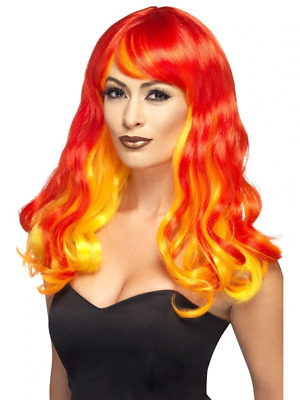 Red Ombre Wig, Devil Flame Adult Womens Smiffys Halloween Fancy Dress Costume