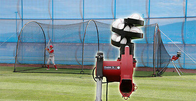 Heater JR Pitching Machine with Auto Ball Feeder & 24' x 12' x 12' Batting Cage