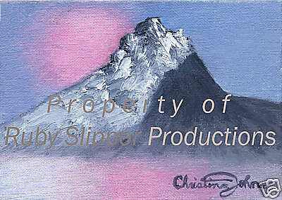 "ANGEL PEAK WITH SNOW 5"" X 7"" Pink Blue Hi Quality Print by CHRISTINA JOHNS!"