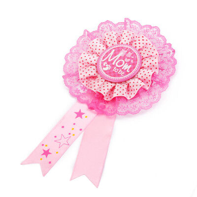 PINK Mom to Be Girl Baby Shower Party Award Ribbon Rosette Badge NEW Mommy