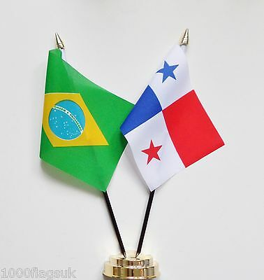 Brazil & Panama Double Friendship Table Flag Set