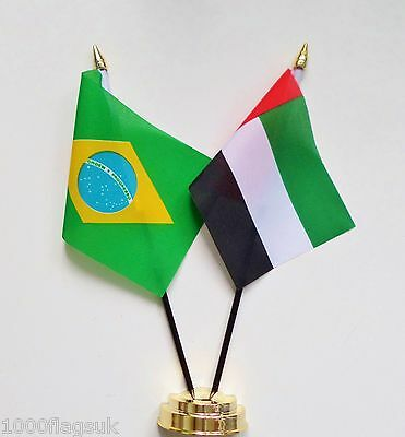 Brazil & United Arab Emirates UAE Double Friendship Table Flag Set