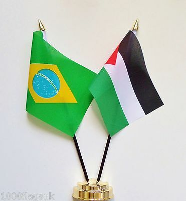 Brazil & Palestine Double Friendship Table Flag Set