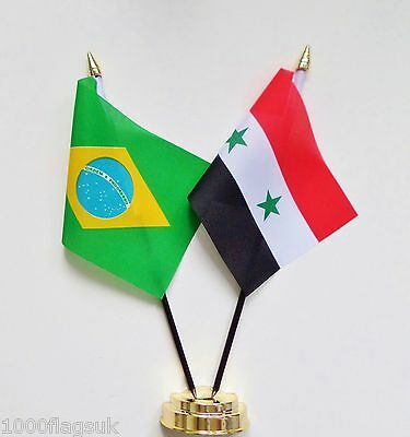Brazil & Syria Double Friendship Table Flag Set