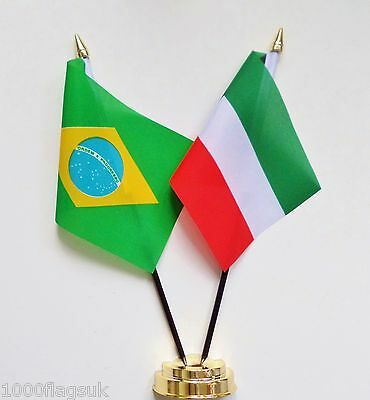 Brazil & Kuwait Double Friendship Table Flag Set
