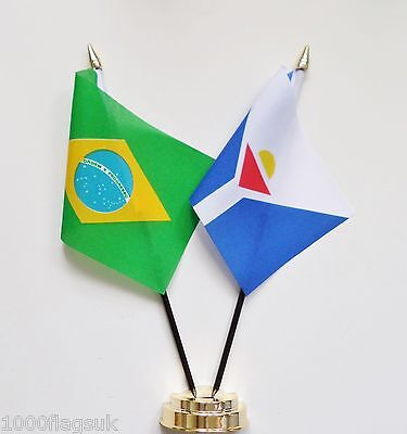 Brazil & St Martin Double Friendship Table Flag Set