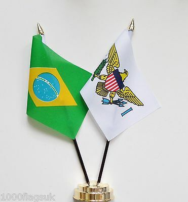 Brazil & US Virgin Islands Double Friendship Table Flag Set