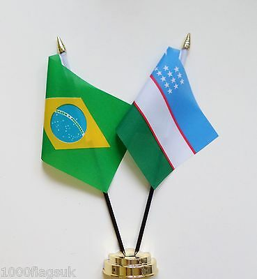 Brazil & Uzbekistan Double Friendship Table Flag Set