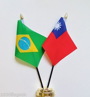 Brazil & Republic of China (Taiwan) Double Friendship Table Flag Set