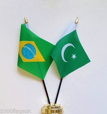 Brazil & Pakistan Double Friendship Table Flag Set