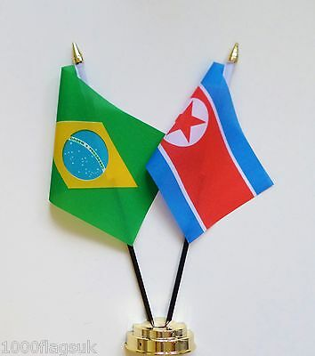 Brazil & North Korea Double Friendship Table Flag Set