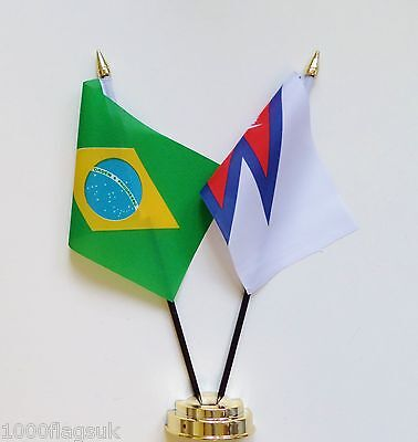 Brazil & Nepal Double Friendship Table Flag Set
