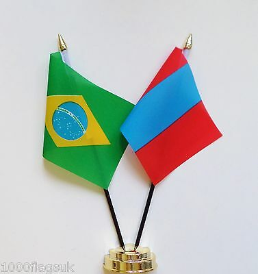 Brazil & Mongolia Double Friendship Table Flag Set