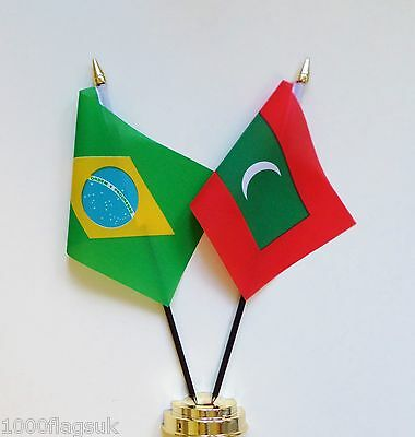 Brazil & Maldives Double Friendship Table Flag Set