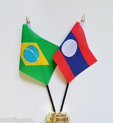 Brazil & Laos Double Friendship Table Flag Set