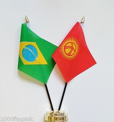 Brazil & Kyrgyzstan Double Friendship Table Flag Set