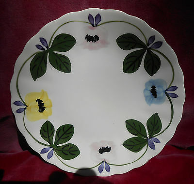 "Blue Ridge Pottery Colonial Bread Plate 6 1/8"" Flowers Blue Pink Yellow"