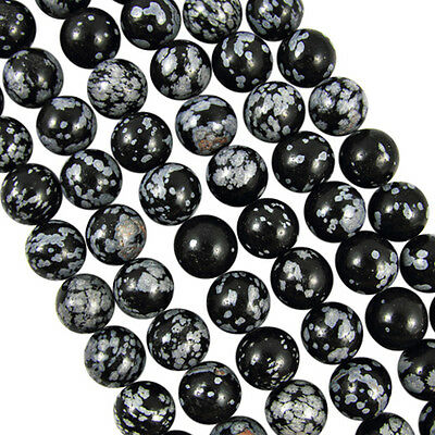 Wholesale 4-12mm Natural Snowflake Obsidian Gemstone Round Loose Beads Lots 5-40
