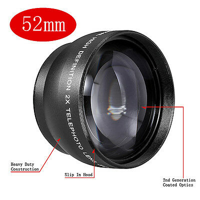 Neewer 52MM 2x Telephoto Conversion Lens with Lens Bag, Lens Cap for Nikon