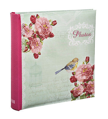 "Large Vintage Rose Birds Slip In Photo Album Holds 200 Photos 4'' x 6"" - CG200"
