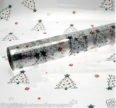 CHRISTMAS CELLOPHANE RED GREEN XMAS TREES Present Gift Wrap DIY Hampers film