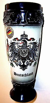 "7"" T Nice Ceramic King Made in Germany Handmade Handpainted Beer Glass Stein"