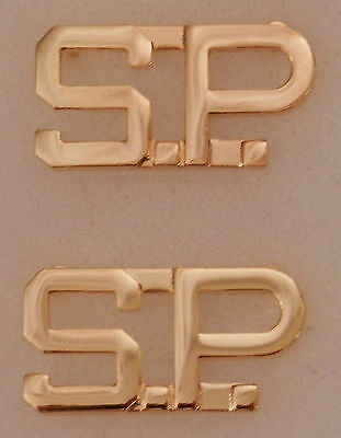"S.P. Gold 1/2"" Letters Pair Collar Pins Rank Insignia SP"