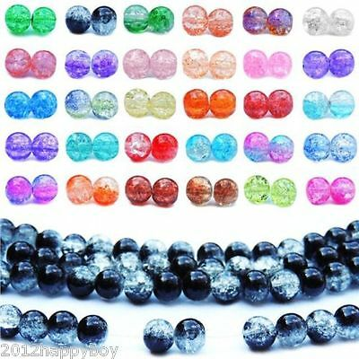 10-100 Beads Two Tone Round Glass Crackle Spacer Beads Finding 4/6/8/10/12mm