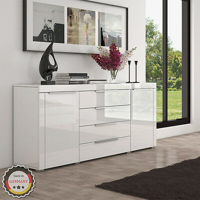 sideboard rova deluxe 166 cm kommode schrank wei hochglanz massivholz f e eur 279 90. Black Bedroom Furniture Sets. Home Design Ideas