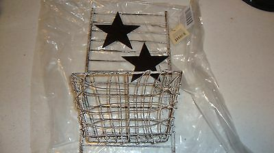 Country House new small wire STAR wall basket /bin / nice