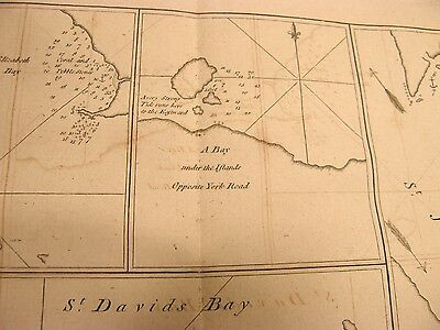 Antique 1773 Chart Map Hms Dolphin South America York Bay Three Island Harbour