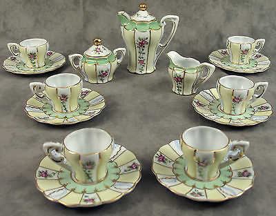 LIMOGES CHINA 15 Piece CHILD'S MINIATURE TEA SET SERVICE FOR 6  ~ Green Rose ~