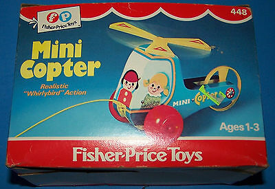 Vintage 1970 Fisher-Price Mini Copter #448 Pull Toy Box - Box Only