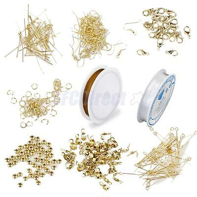 Gold Jewelry Making Kit Findings Tigertail Cord Thread Headpin Spacer Hooks