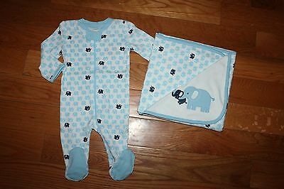 NWT Gymboree Brand New Baby 0-3 Months Set Blue Elephant Sleeper Blanket