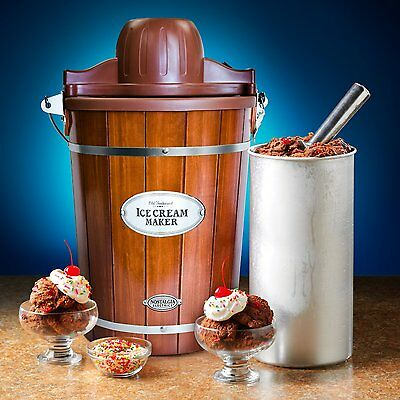 Nostalgia ICMP600WD Vintage 6-Quart Wood Bucket Electric Ice Cream Maker New